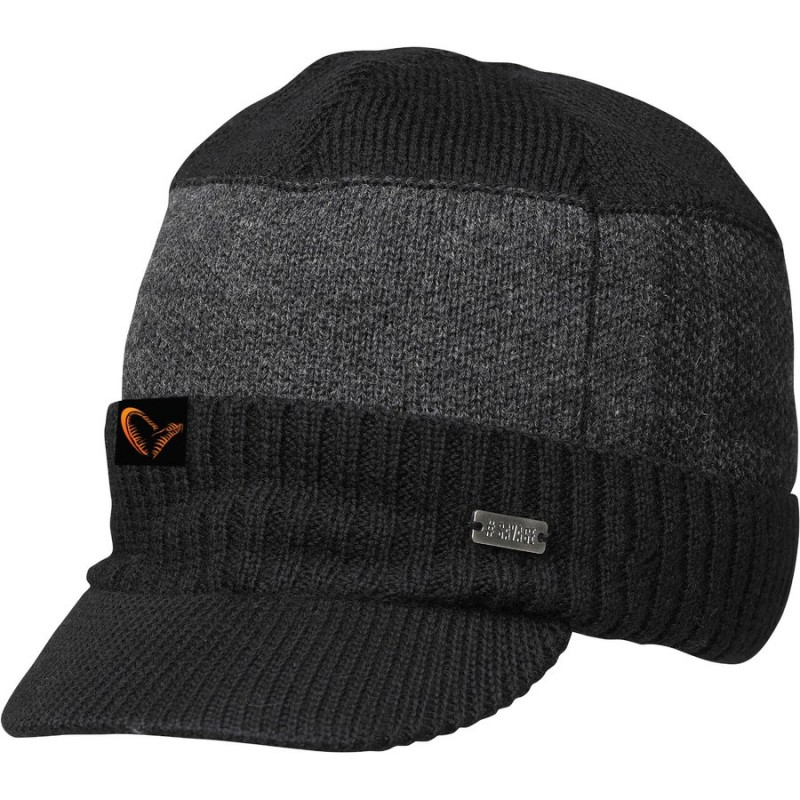 Fes tricotat Savage Gear negru cu cozoroc
