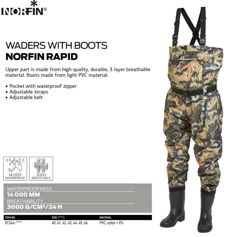 Wadersi cu cizme Norfin Rapid Camou 43