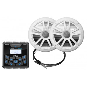 Sistem Audio Boss Marine Alb MCKGB450W.6 240W AM/FM player digital, bluetooth, 2 boxe cu antena